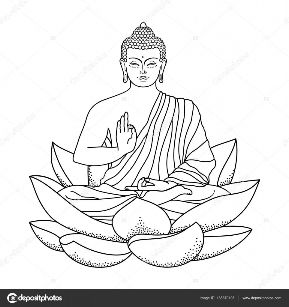 buddha sitting on lotus u2014 stock vector kronalux 138370198