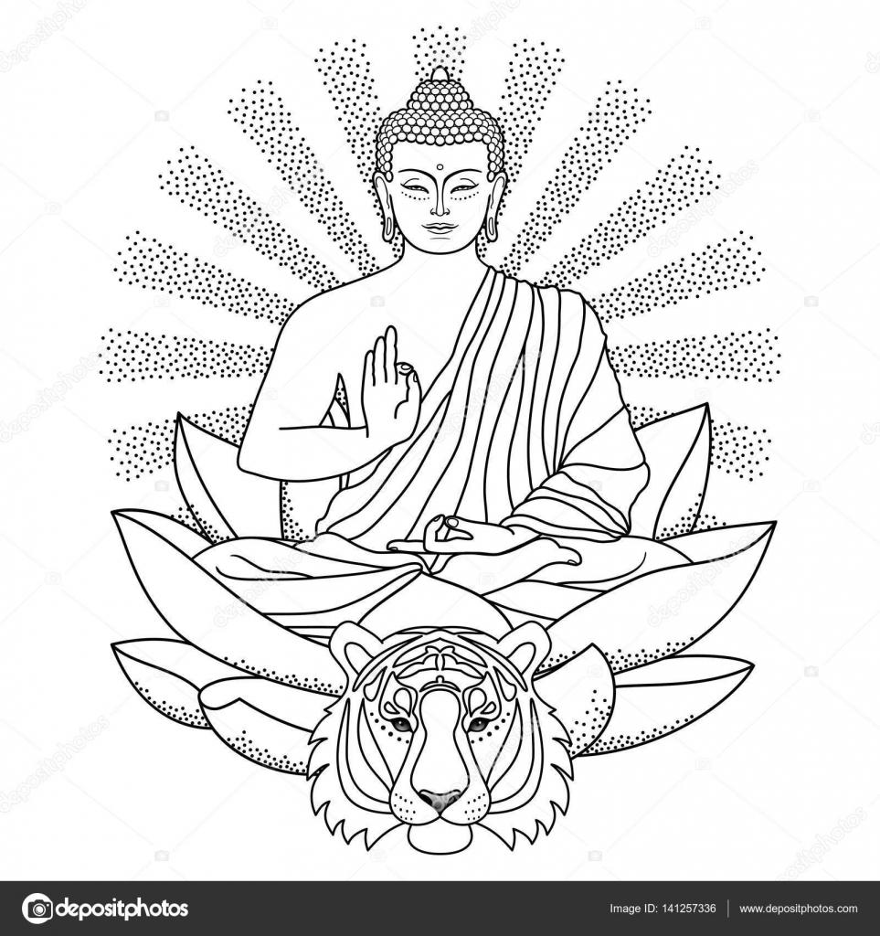 boeddha zittend op lotus met licht en tijger  u2014 stockvector