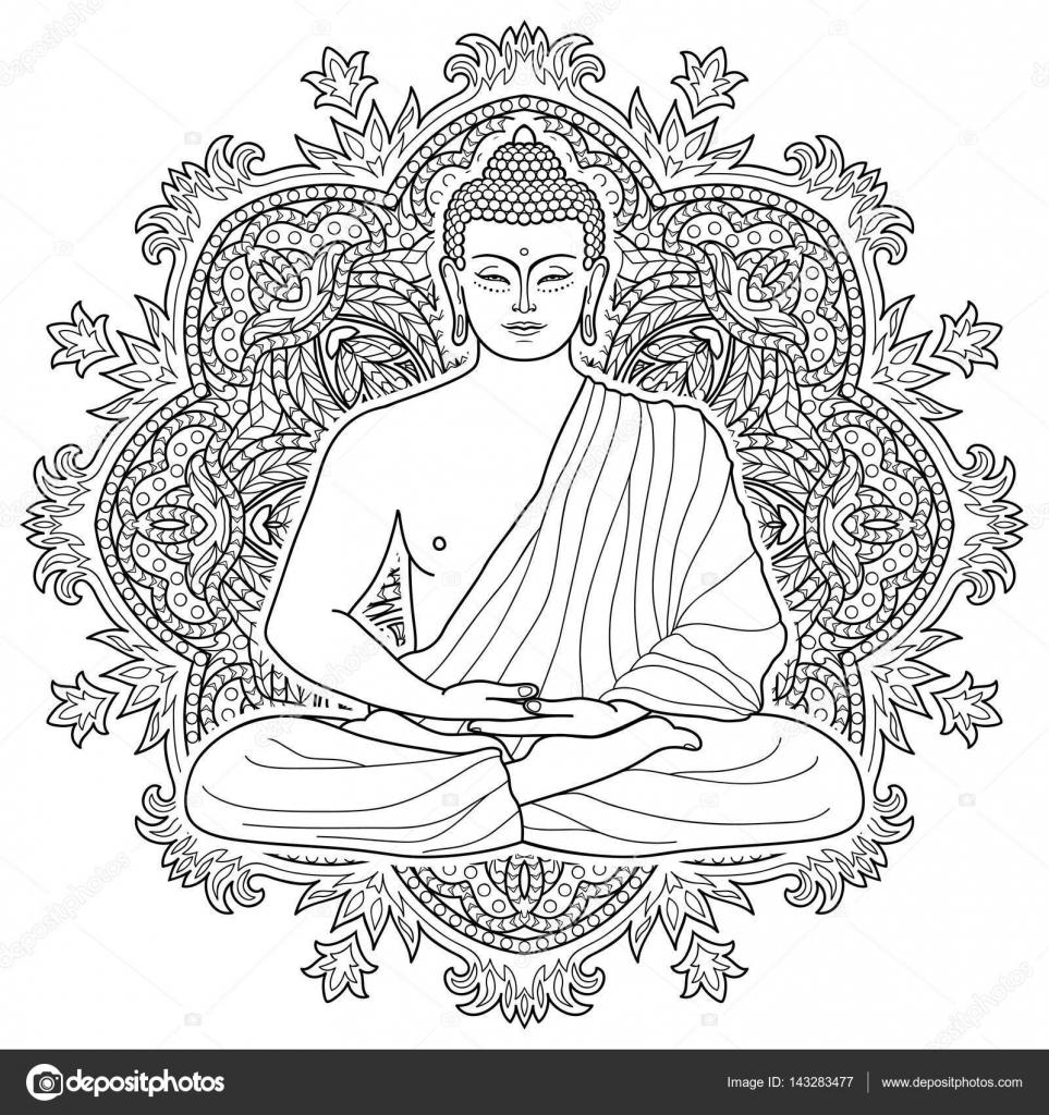 Sentado meditando Buda — Archivo Imágenes Vectoriales © KronaLux ...