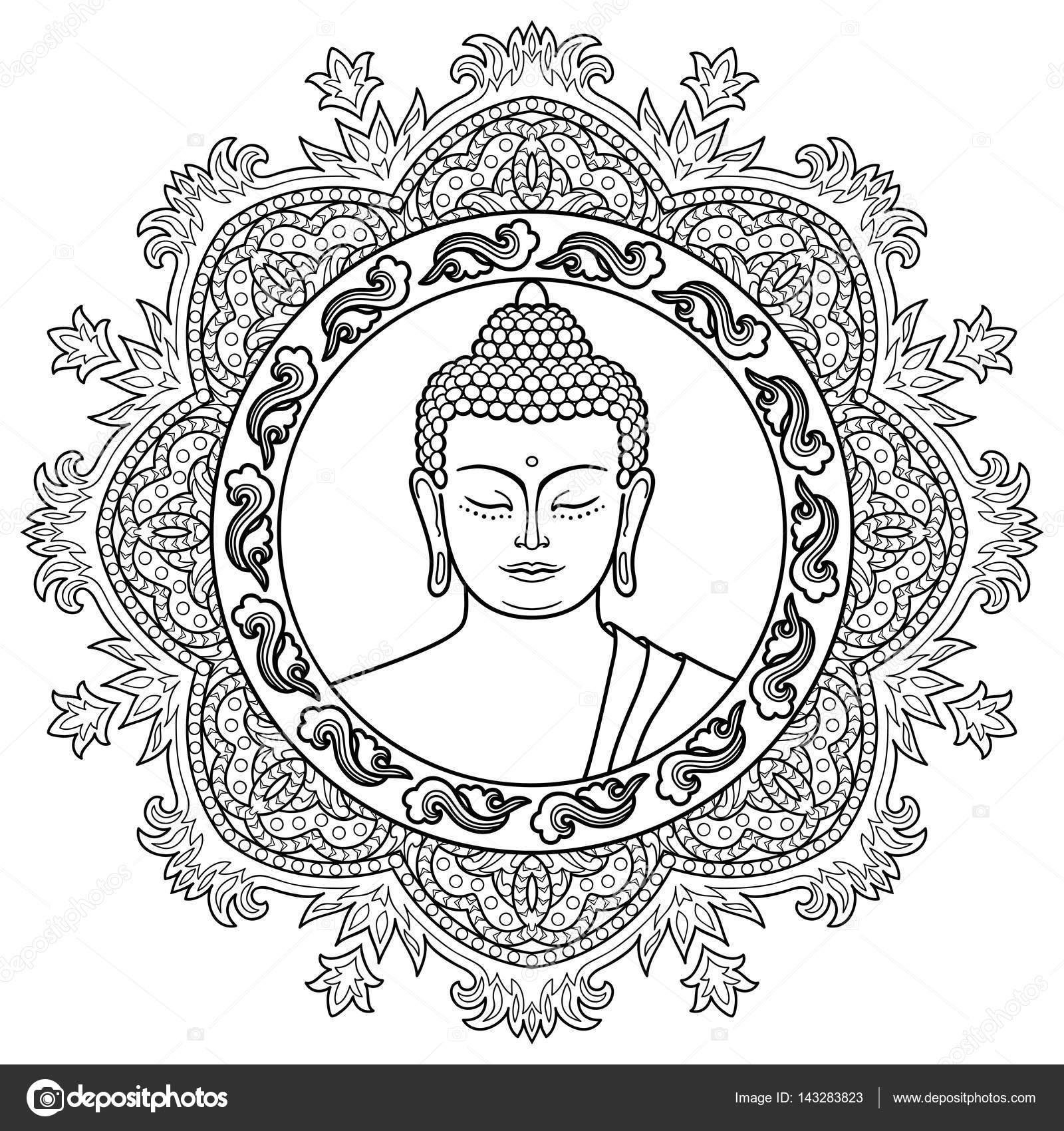 Cabeza de Buda en el fondo de Mandala — Vector de stock © KronaLux ...