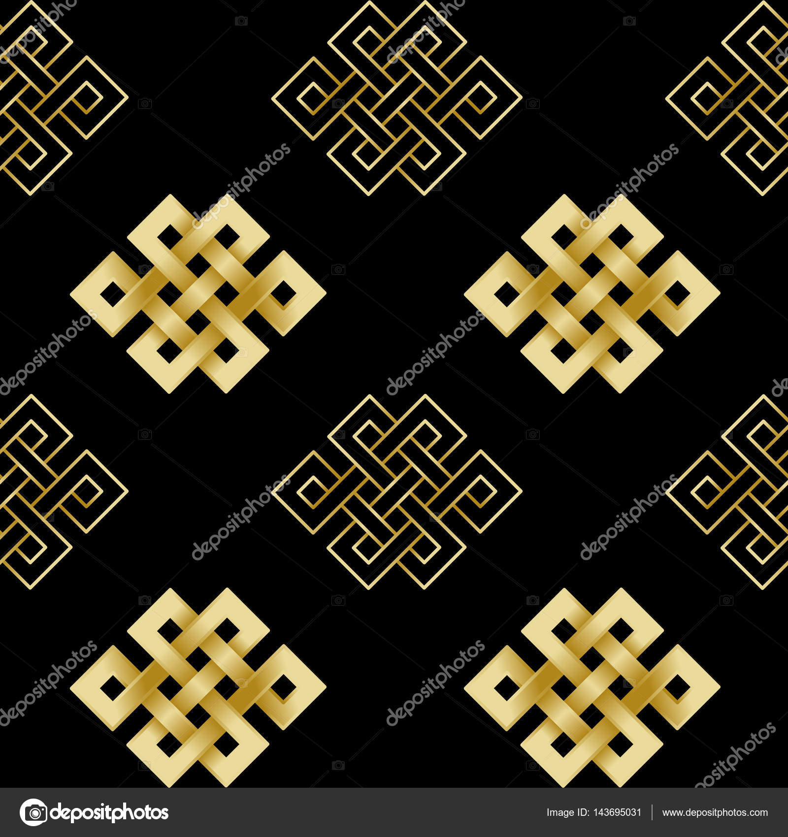 Seamless Pattern Of Gold Endless Knot Stock Vector Kronalux