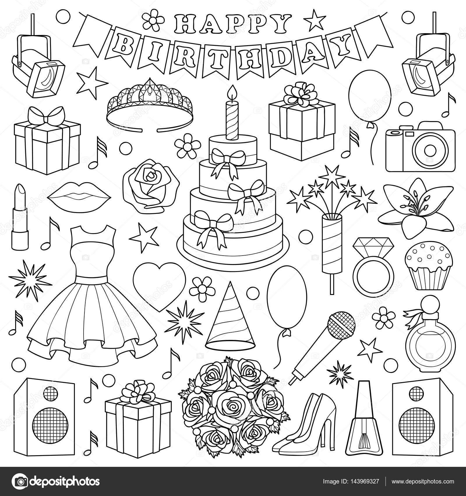 Juego de Doodle cumpleaños niña — Vector de stock © KronaLux #143969327