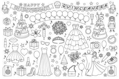 Girl Birthday Doodle Set