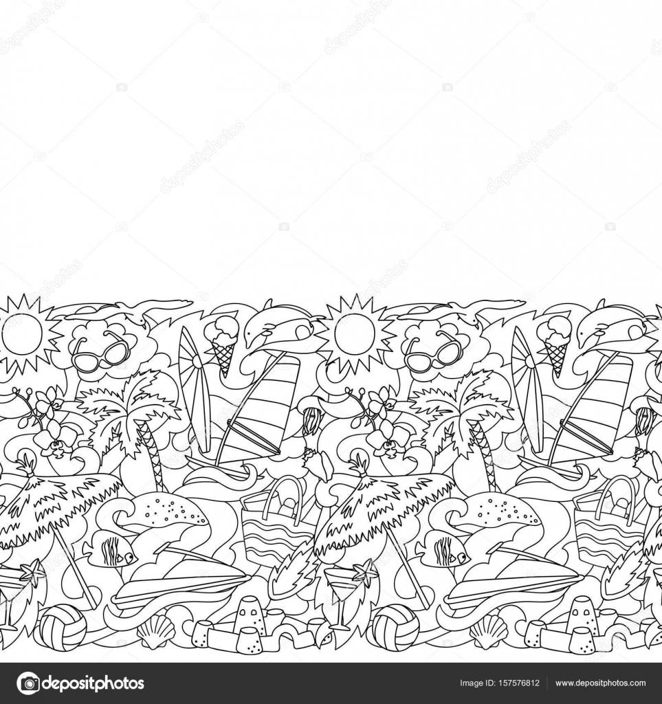 Doodle Sommerstrand nahtlose Grenze — Stockvektor © KronaLux #157576812