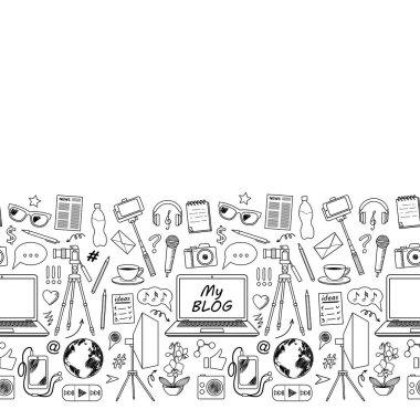 My Blog Sketch Seamless Border