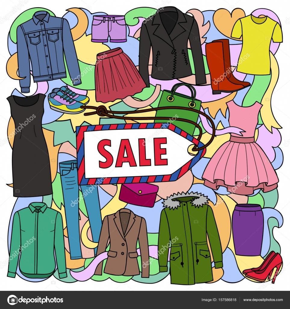 08e39cc95929da Векторна ілюстрація боку звернено жінка одягу, взуття і сумки на хвилі  абстрактного фону. Продаж візерунок з тексту місце для листівки, плакати,  ...
