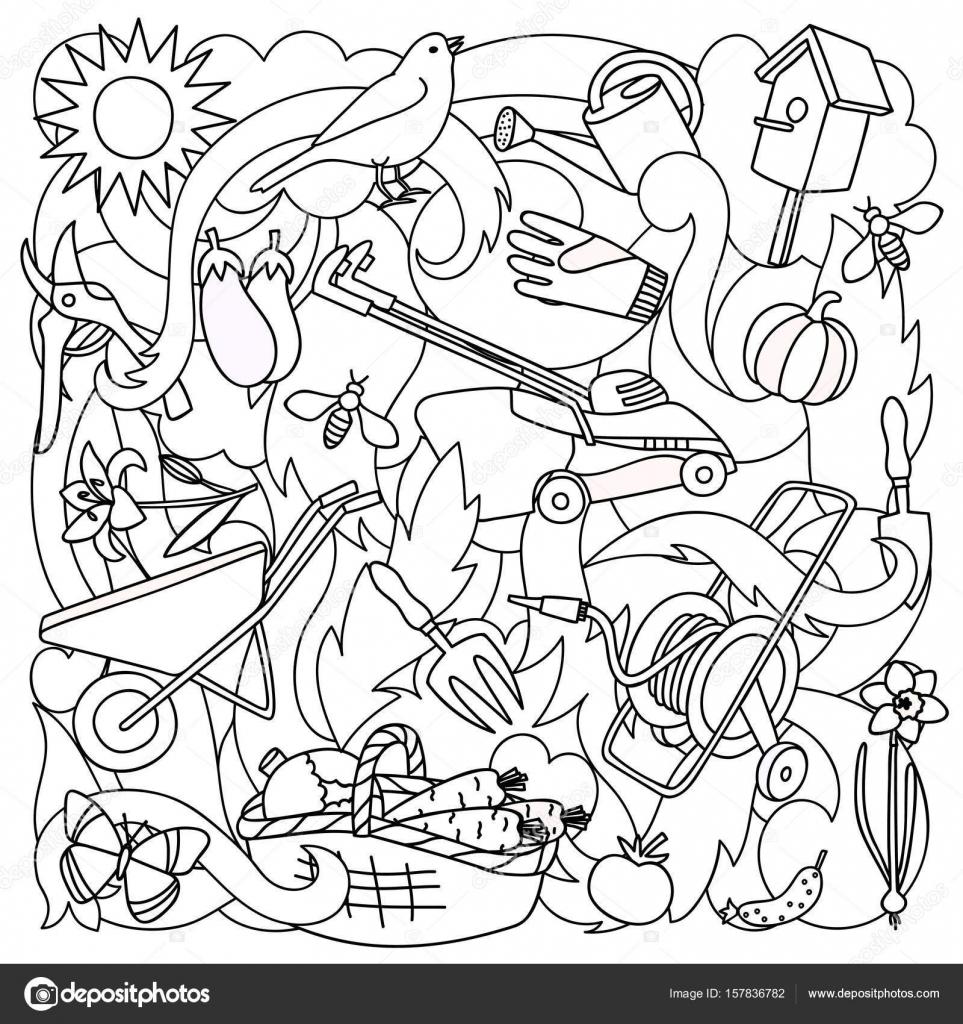 tuin kleurplaat stockvector 169 kronalux 157836782