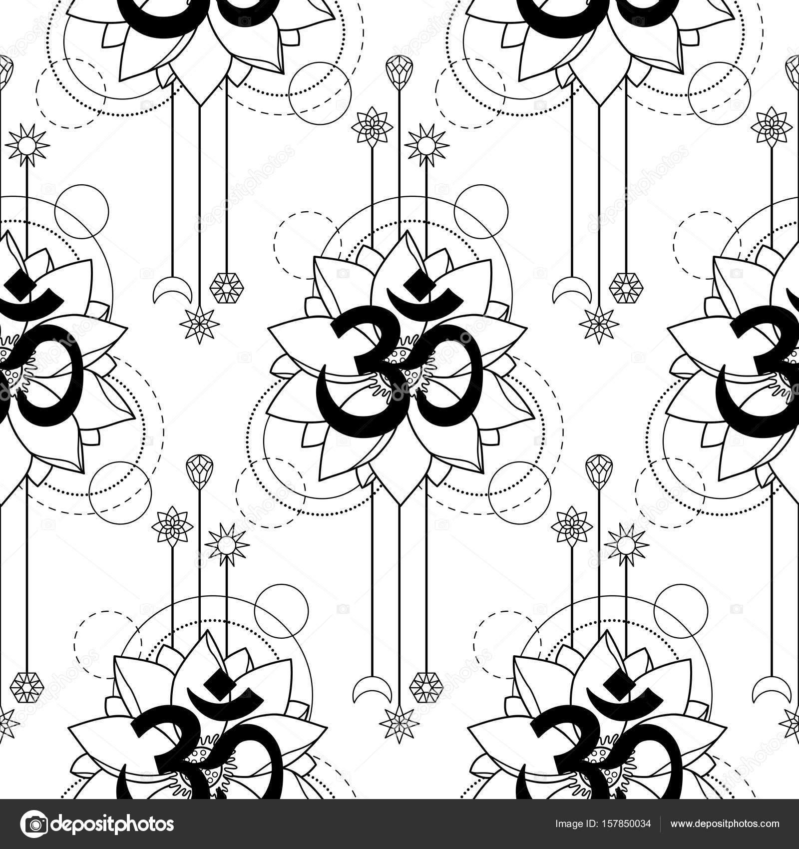 3006ff3cd Seamless pattern with mantra Om and lotus abstract composition on white  background. Modern tattoo, textile print, coloring page.