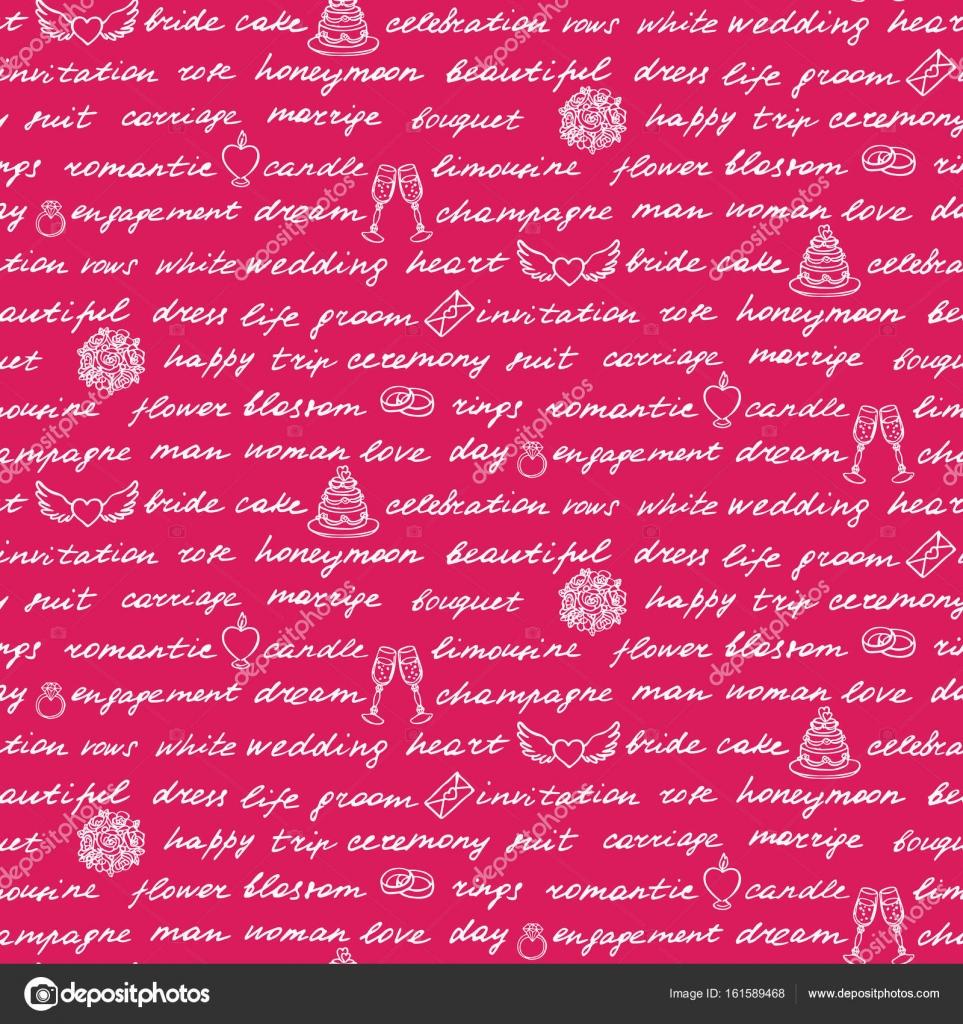 La boda Letras de patrones sin fisuras — Vector de stock © KronaLux ...