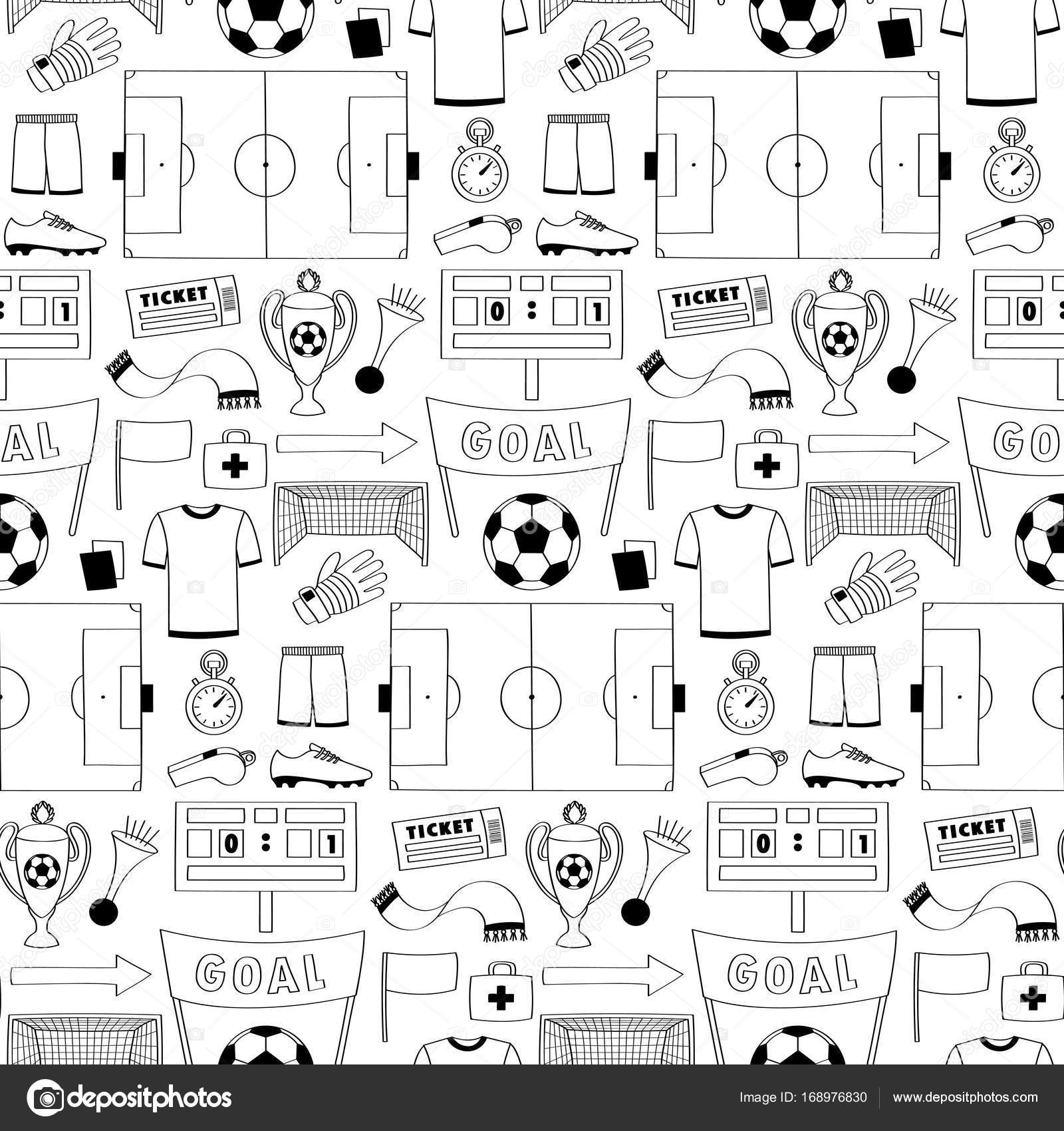 Fußball Dodle nahtlose Muster — Stockvektor © KronaLux #168976830