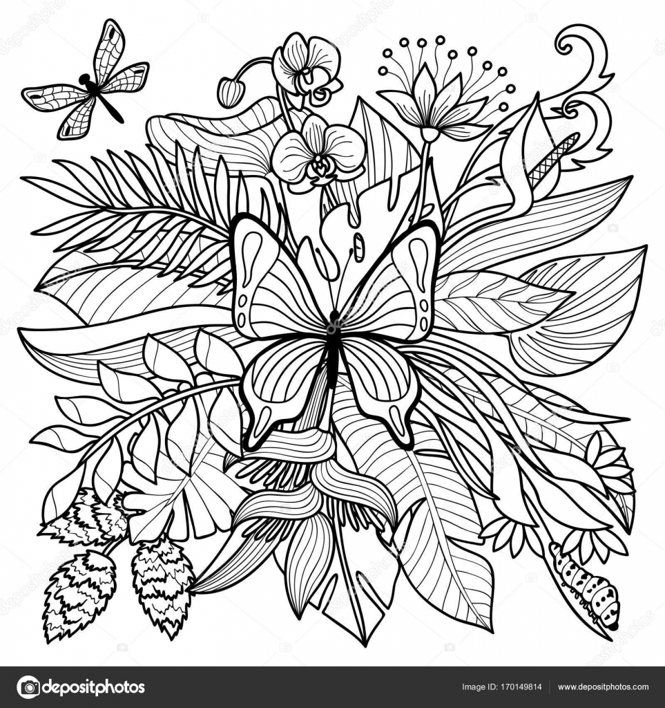 Tropical Coloring Page Stock Vector Kronalux 170149814 Tropical Coloring Pages