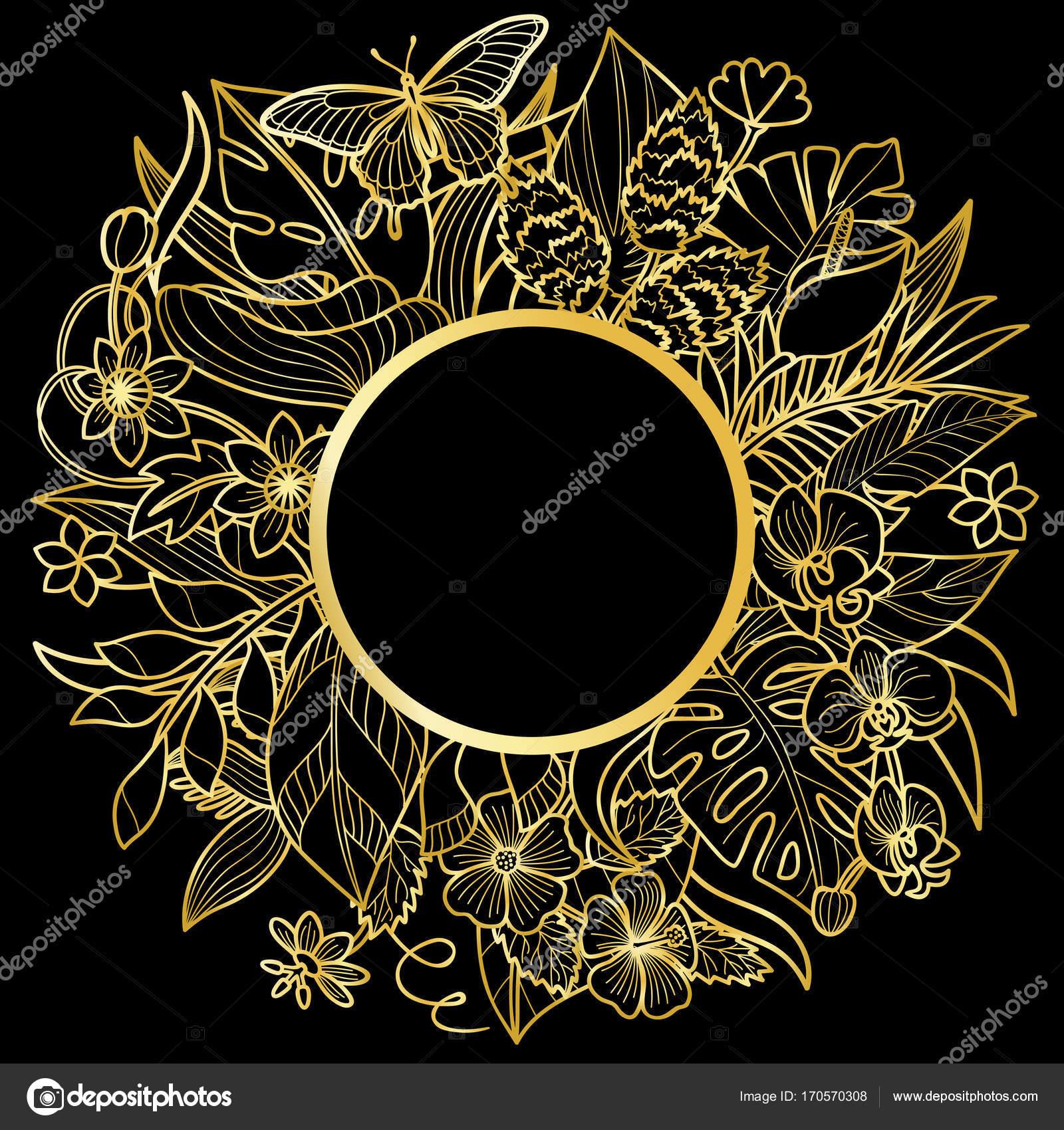 Tropischen Runde Goldrahmen — Stockvektor © KronaLux #170570308