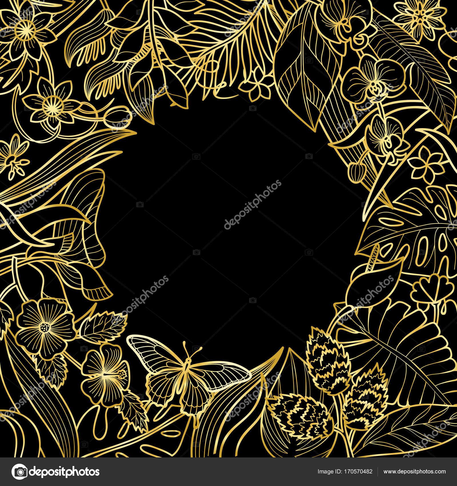 Tropischen Runde Goldrahmen — Stockvektor © KronaLux #170570482