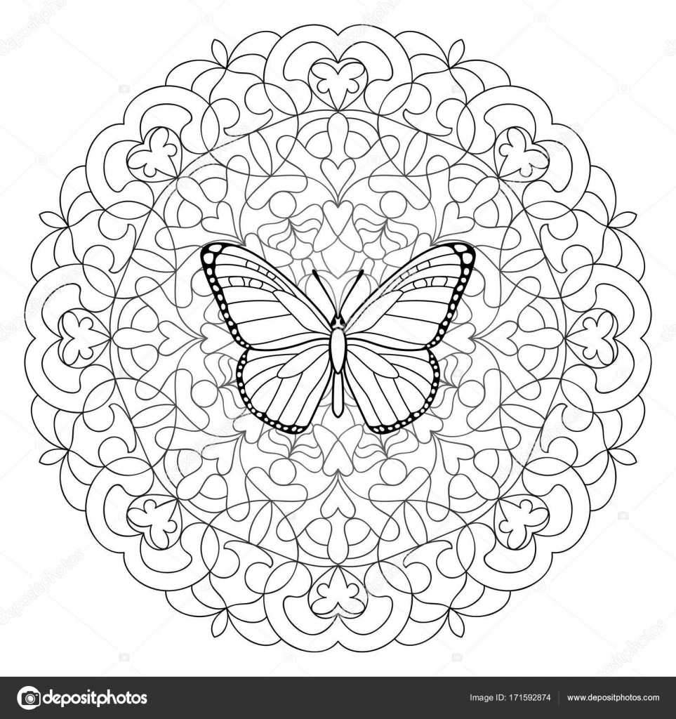 Butterfly Mandala Coloring Page Stock Vector Kronalux 171592874
