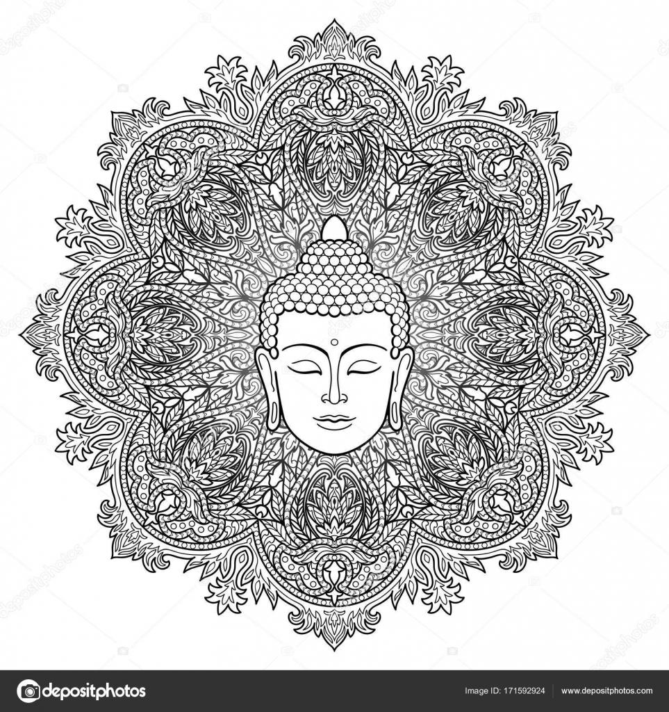 Buda Mandala para colorear página — Vector de stock © KronaLux ...