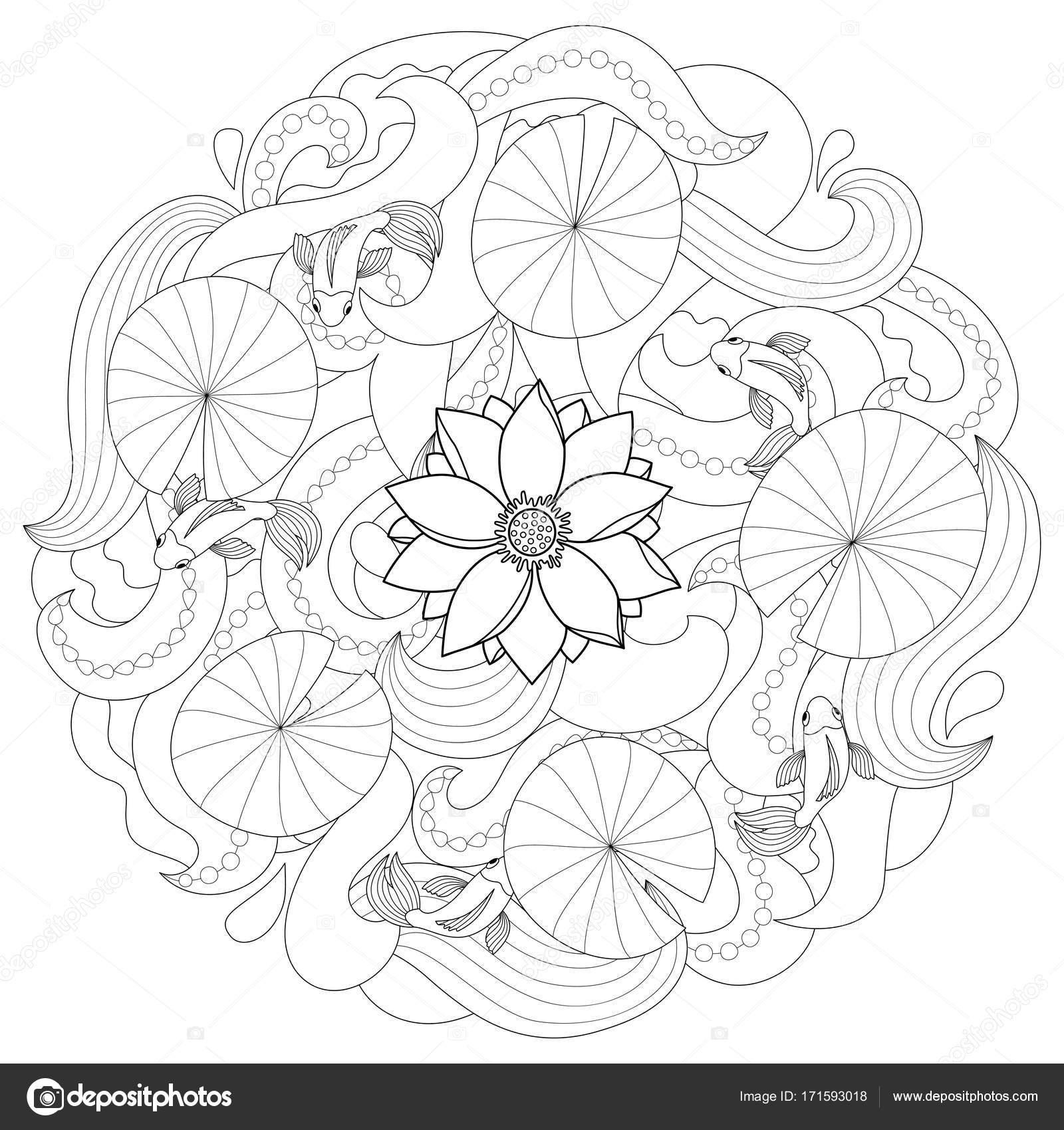 Lotus y página para colorear de peces — Vector de stock © KronaLux ...