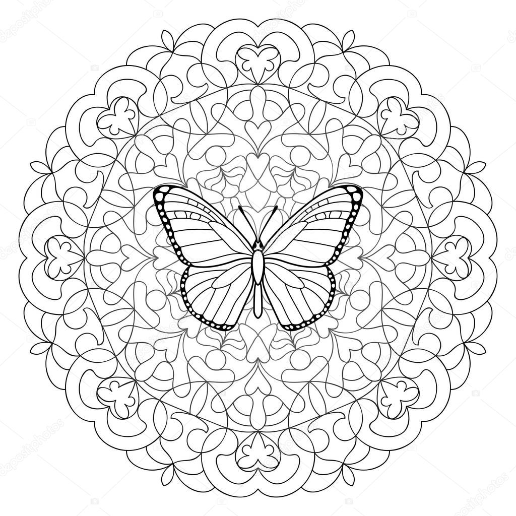Butterfly Mandala Coloring Page — Stock Vector © KronaLux ...