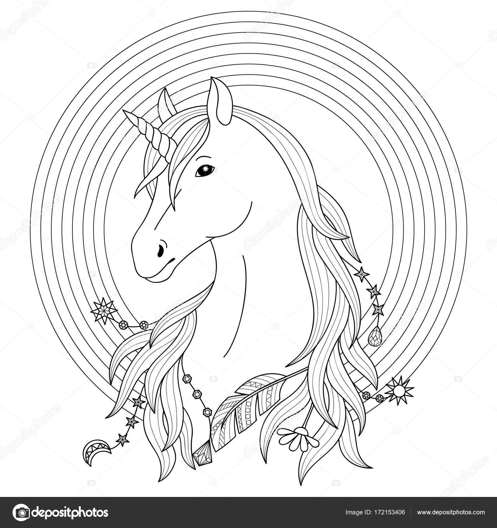 Tatuaje de unicornio con arco iris — Vector de stock © KronaLux ...