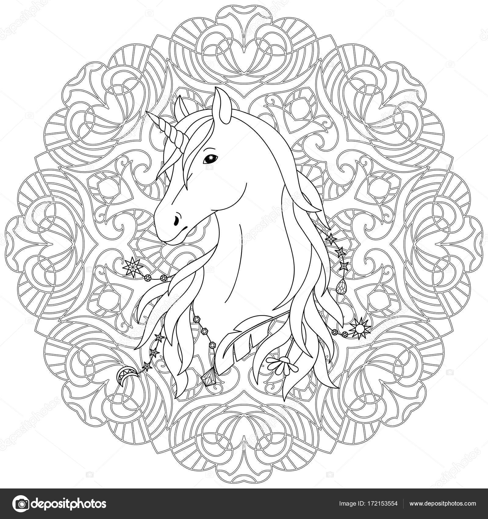 Unicorn Tattoo Kleurplaat Stockvector Kronalux 172153554
