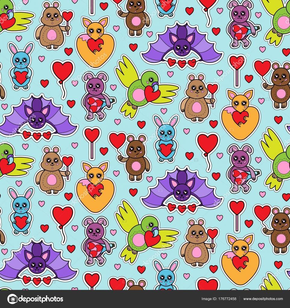 Juguetes animales con corazón de patrones sin fisuras — Vector de ...