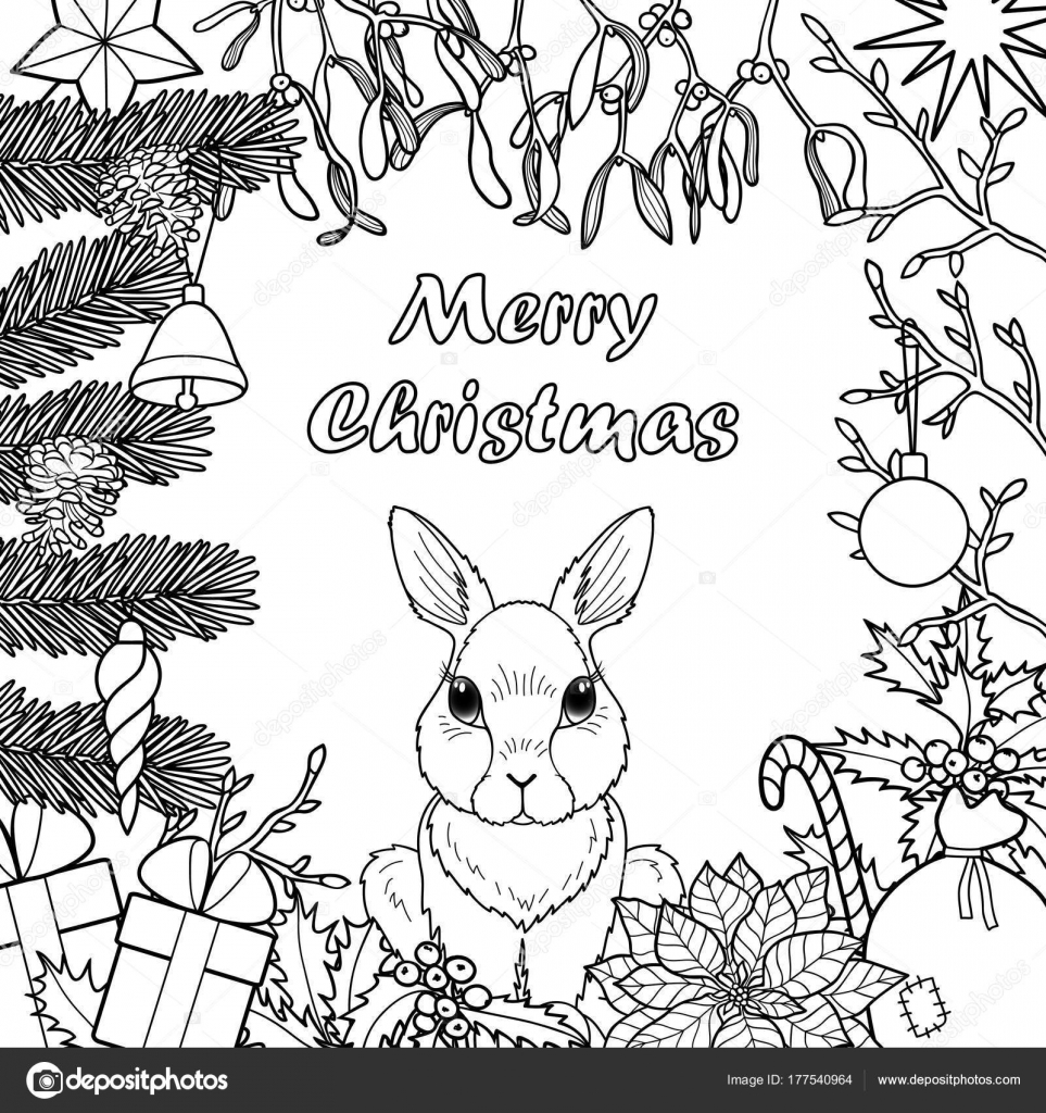 Merry Christmas Pattern Avec Lapin Image Vectorielle