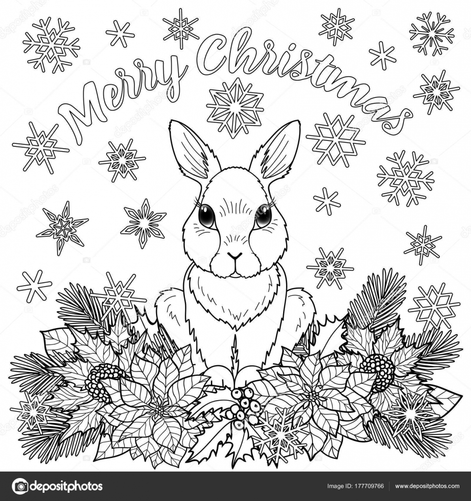 Merry Christmas Coloring Pages.Merry Christmas Coloring Page With Rabbit Stock Vector