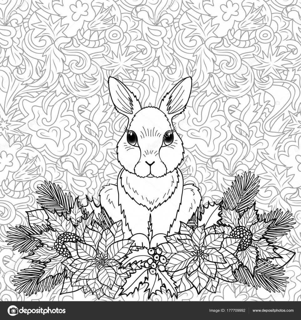 Página para colorear de invierno con conejo — Vector de stock ...