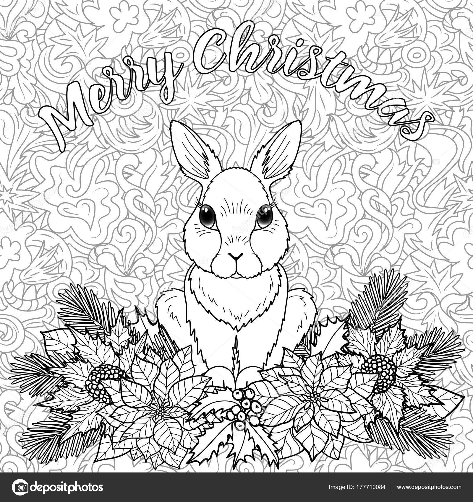 Merry christmas coloring page with rabbit stock vector
