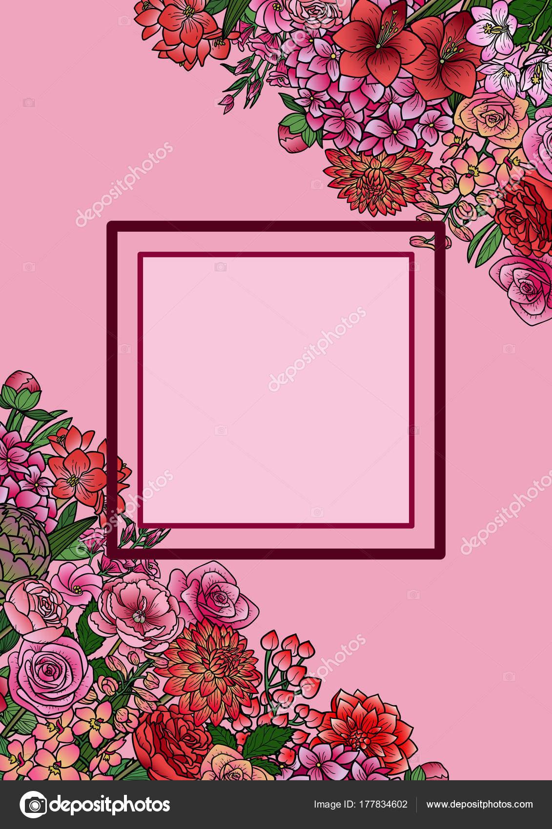 Garten Blumen Mock-Up Rahmen — Stockvektor © KronaLux #177834602