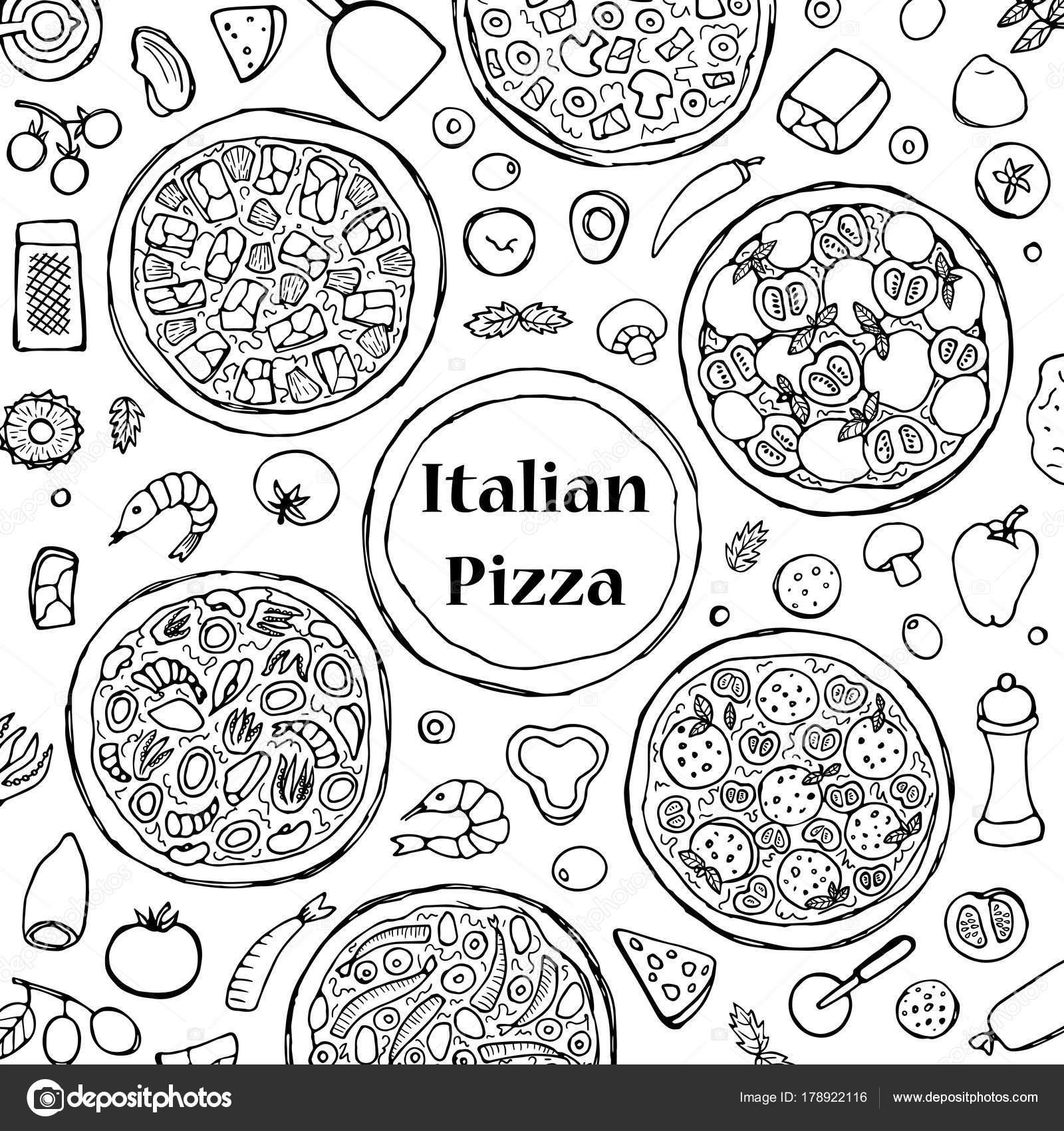 Dibujado a mano juego de Pizza italiana — Vector de stock © KronaLux ...
