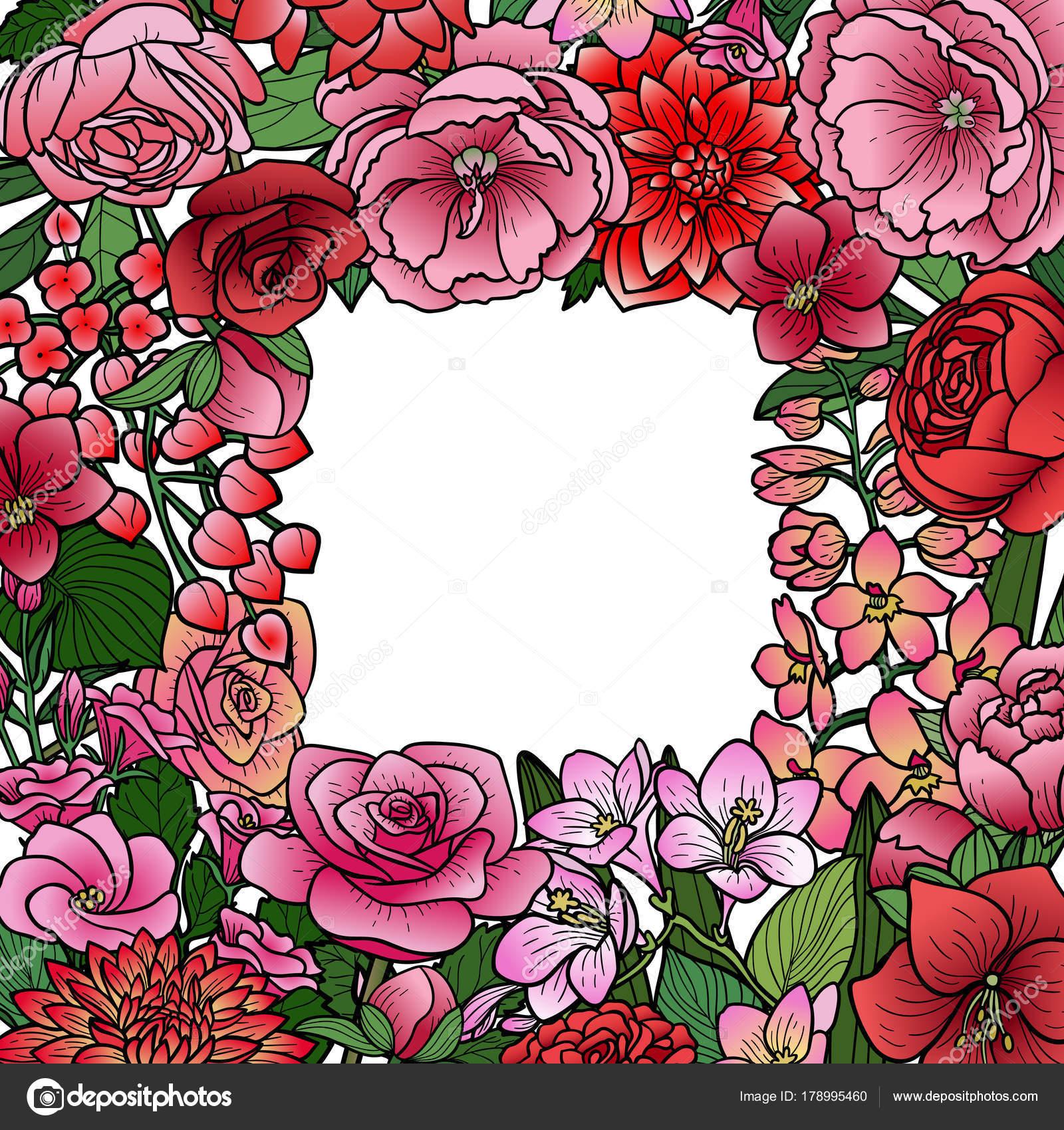 Mofa de flores del jardín del marco — Vector de stock © KronaLux ...