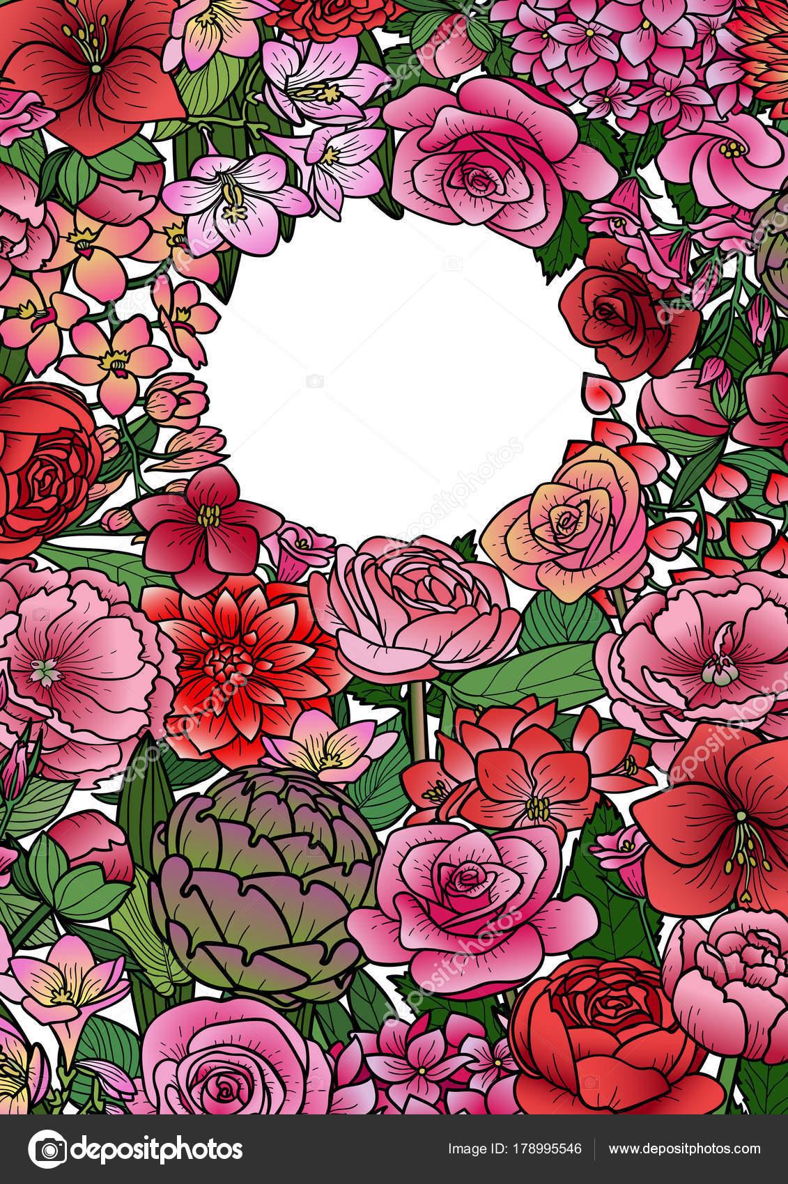 Garten Blumen Mock-Up Rahmen — Stockvektor © KronaLux #178995546