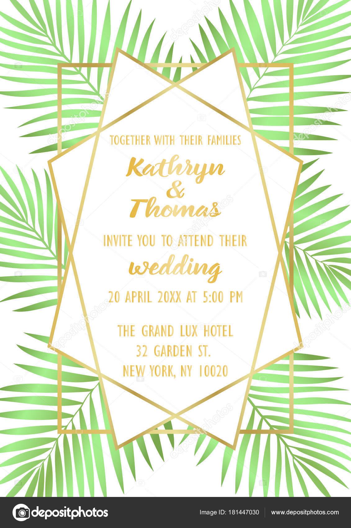 Wedding Tropical Invitation Card — Stock Vector © KronaLux #181447030