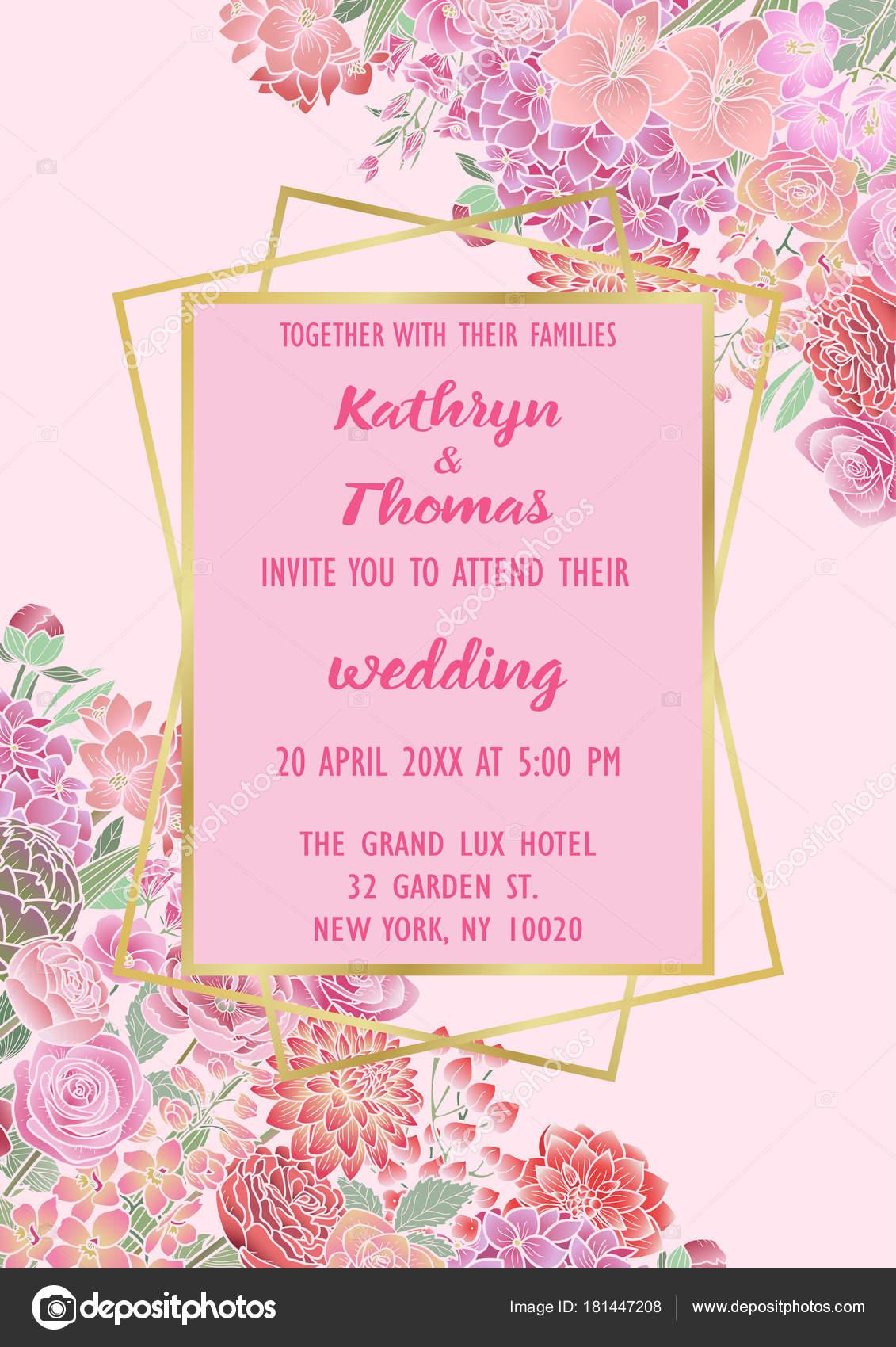 Wedding Flowers Invitation Card — Stock Vector © KronaLux #181447208