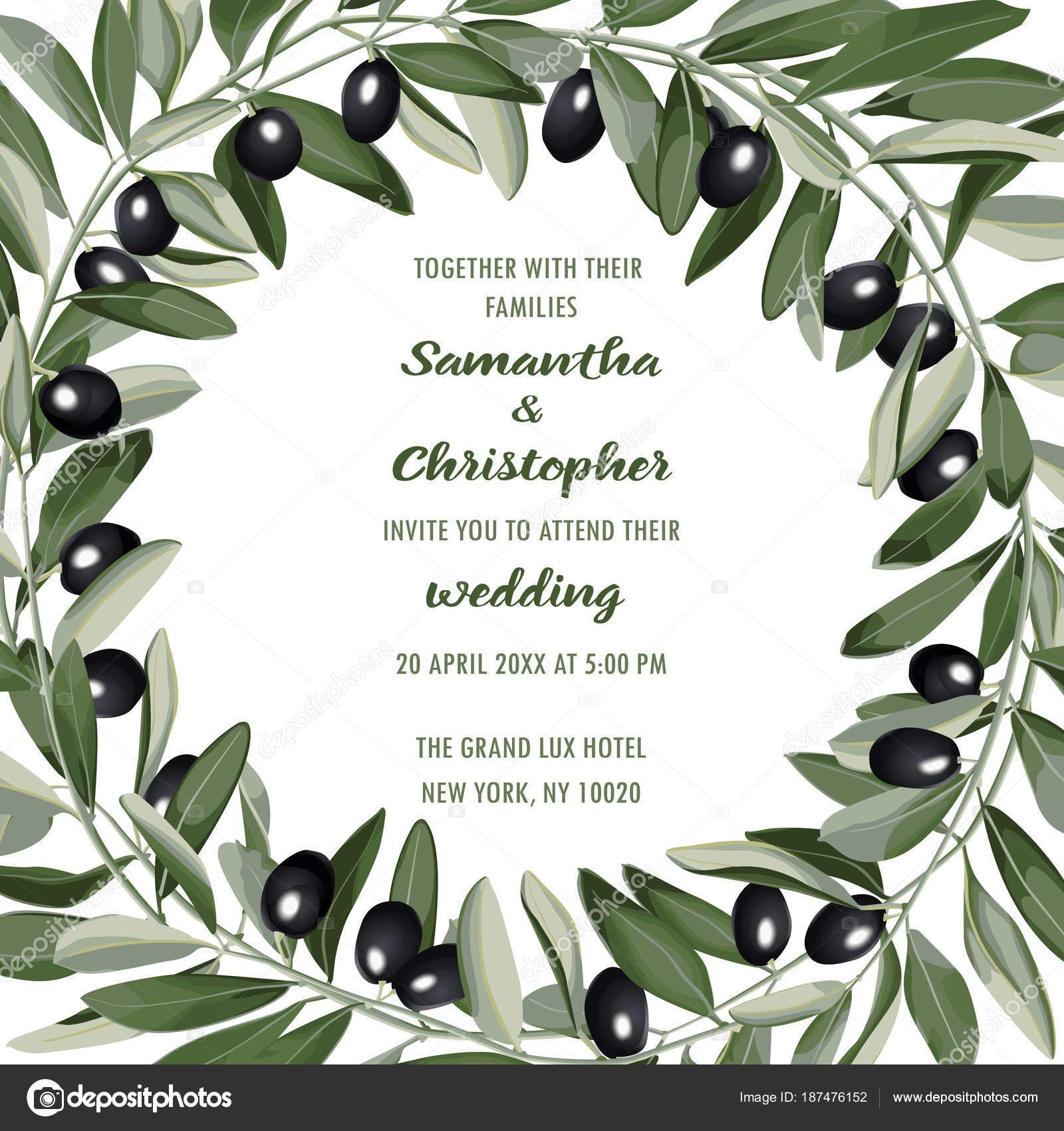 Hochzeit einladungskarte mit olive brunch stockvektor
