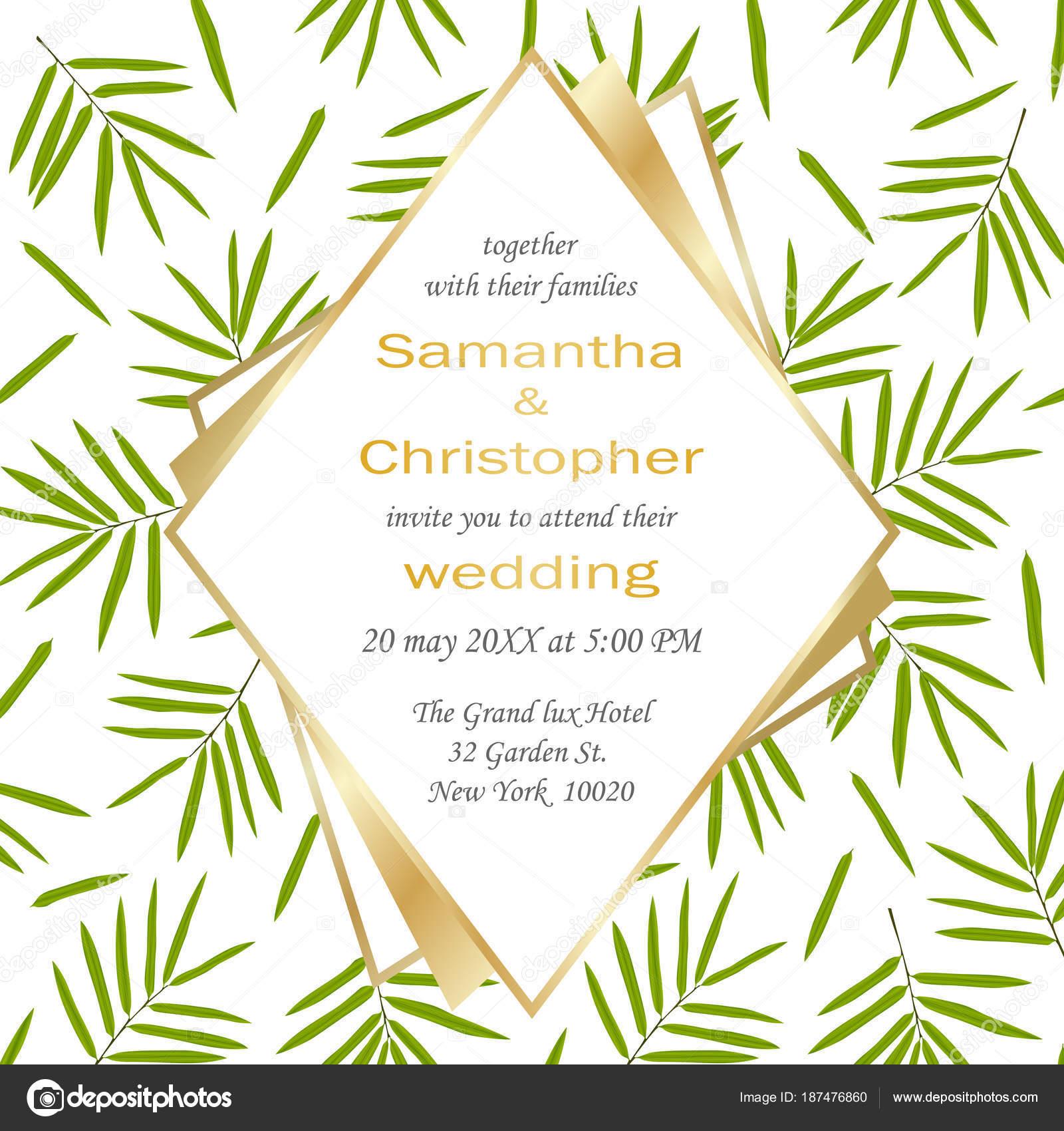Hochzeit glamouröse blumigen einladungskarte mit geometrischen goldrahmen und bambus blätter auf weißem hintergrund mode grün botanische gruß laden mit