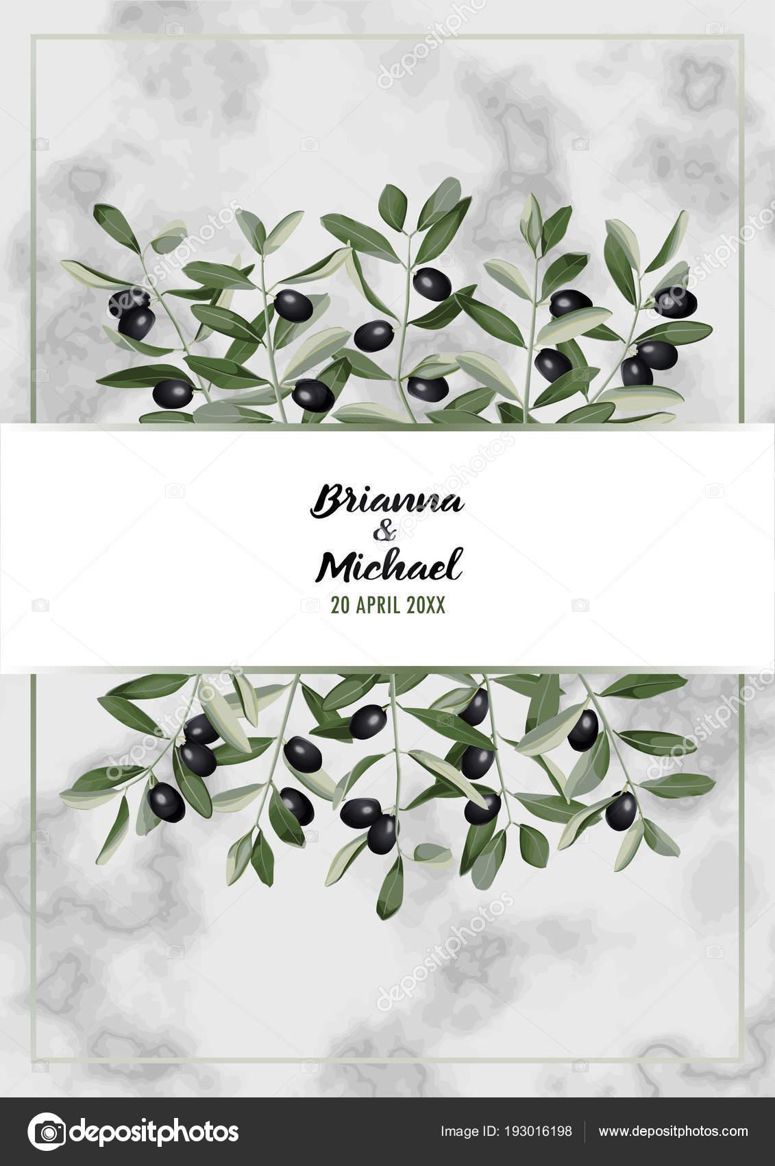 Marmor hochzeit einladungskarte mit olive brunch stockvektor