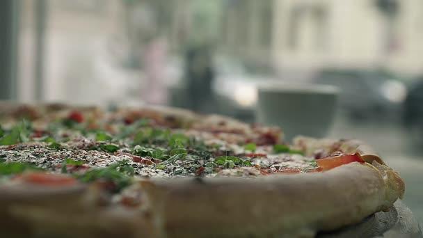 Zblízka abstraktní horké Pizza jako Symbol rychlého občerstvení