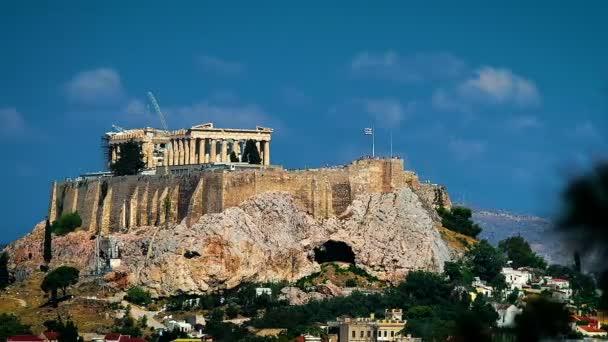 Ancient Temple Parthenon on the Acropolis Hill Motion