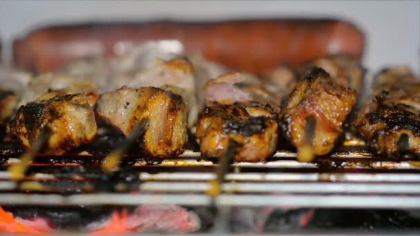 Detail vaření šíš kebab a klobásy na gril na dřevěné uhlí