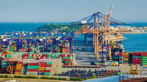 Práce v velké nákladní přístav pohled shora, časová prodleva