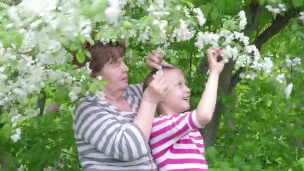 glückliche ältere Frau und Mädchen in einem Park zwischen blühenden Apfelbäumen. 4k