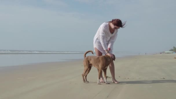 Mladá žena se psem u moře. 4k