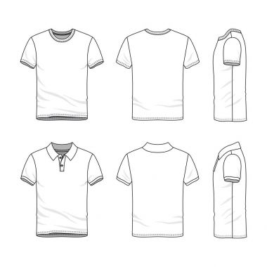 Templates of t-shirt and polo shirt.