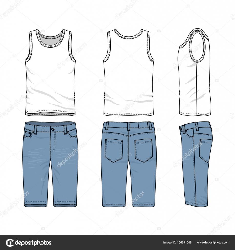 9224115d7 Frente, parte posterior y vistas de conjunto de ropa masculina. Plantillas  vectores en blanco del chaleco, pantalones. — Vector de aunaauna2012