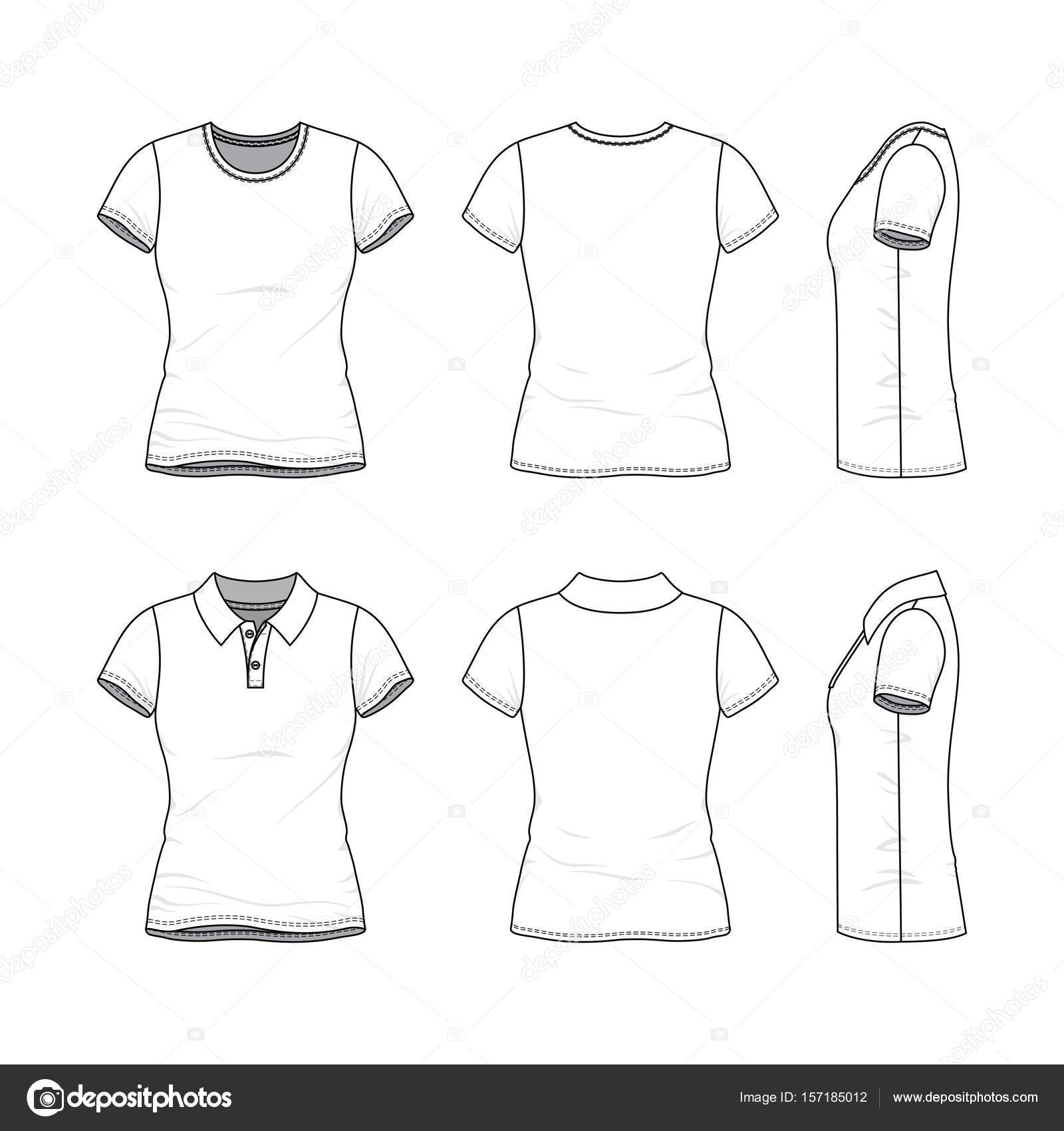 Templates of female t-shirt and polo shirt. — Stock Vector ...