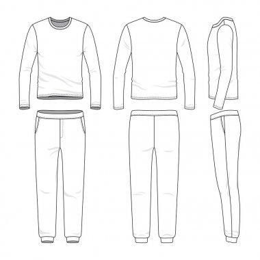 Clothing set of long sleeved shirt and sweatpants.