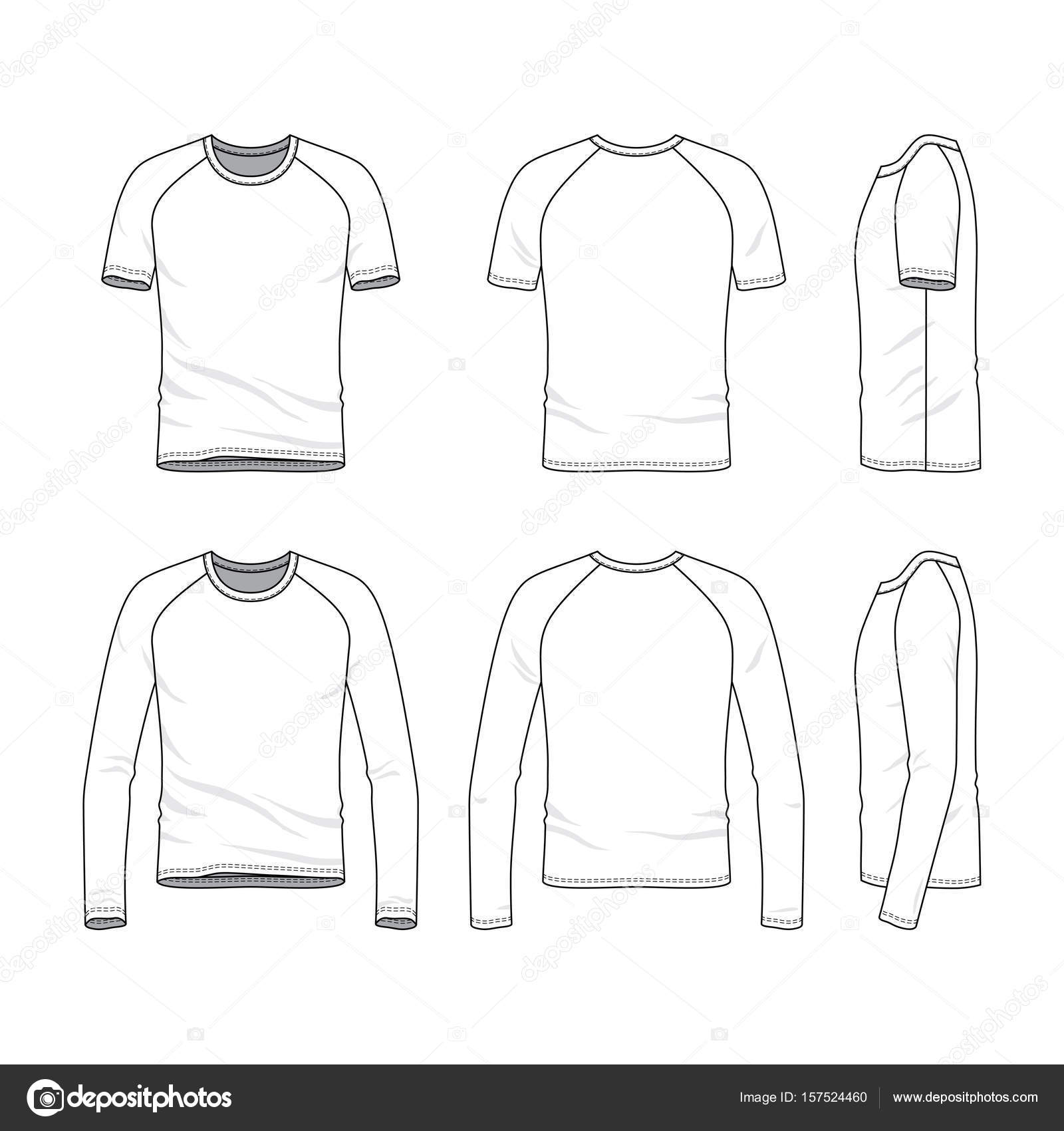 Vector Templates Clothing Set Front Back Side Views Blank Raglan ...