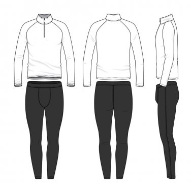 Vector templates of clothing set. Front, back, side views of blank shirt, jogging pants. Shirt with zipper and raglan sleeves. Sportswear, uniform clothes. Fashion illustration.