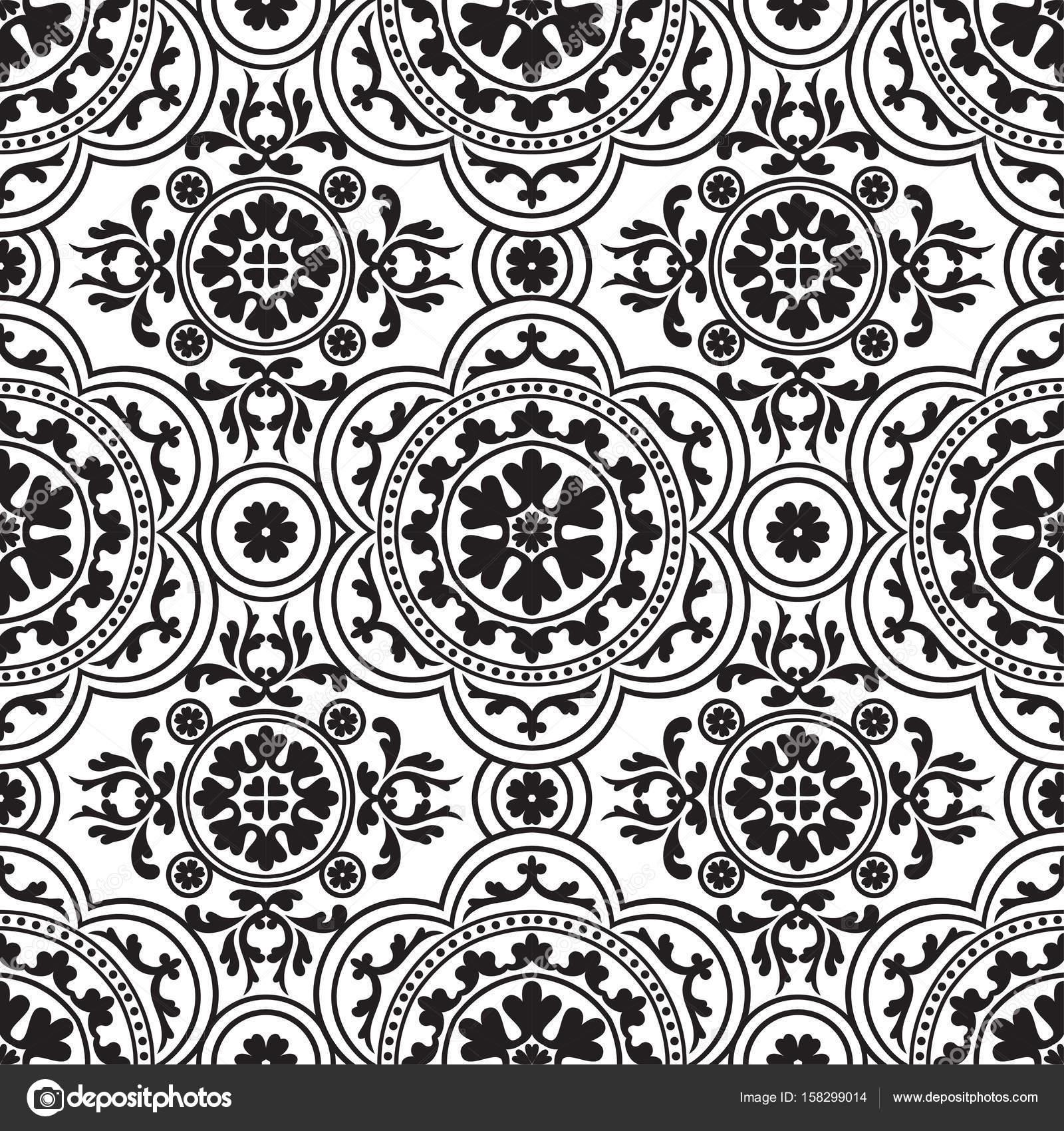 Vintage Orientalische Muster Nahtlose Muster Tapete Schwarz Weiß